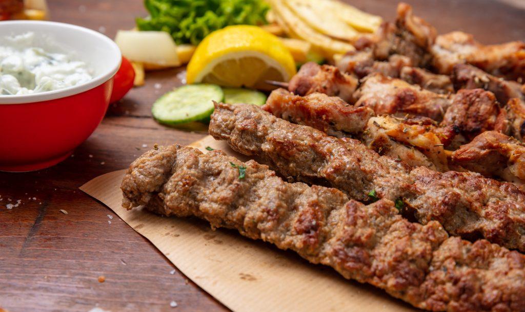 Kebab, traditional turkish, greek meat food on pita bread